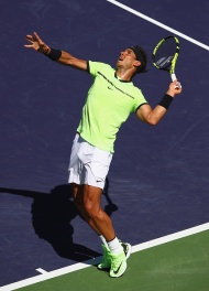 INDIAN WELLS, CA - MARCH 14: Rafael Nadal of Spain serves against Fernando Verdasco of Spain in their third round match during day nine of the BNP Paribas Open at Indian Wells Tennis Garden on March 14, 2017 in Indian Wells, California. (Photo by Clive Brunskill/Getty Images)