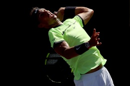 INDIAN WELLS, CA - MARCH 14: Rafael Nadal of Spain serves to Fernando Verdasco of Spain during the BNP Paribas Open at the Indian Wells Tennis Garden on March 14, 2017 in Indian Wells, California. (Photo by Matthew Stockman/Getty Images)