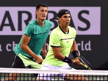 Rafa and Bernard during doubles match in IW